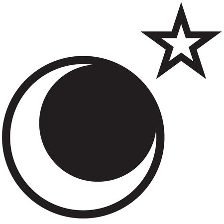 rasterized: A star and moon drawing - rasterized vector drawing