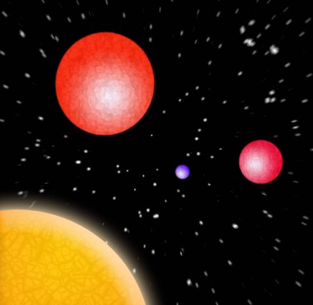 A 3d illustration of some planets in outer space. illustration