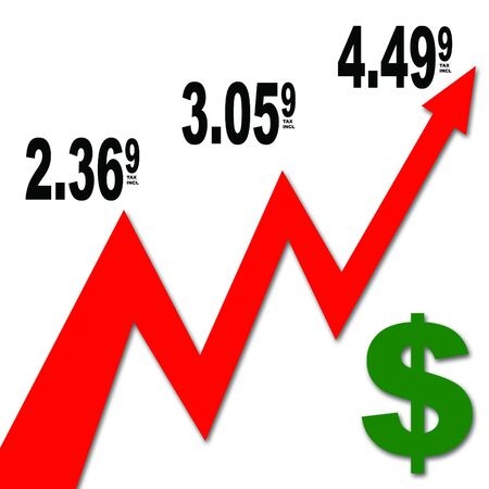 This illustrates the ridiculous gasoline prices that we have been seeing lately. Stock Photo - 404328