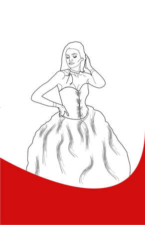 skintone: Color her in, with any color skintone, any color hair, any color dress, etc - looks like a prom gown.