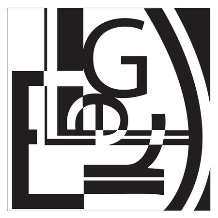 Een collage typografie in de stijl van Leger. Het net lijkt op willekeurige letters die op een interessante manier. Stockfoto