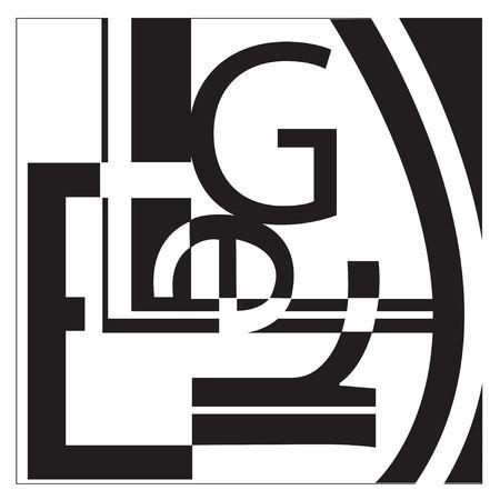 Un collage a la tipografía al estilo de Léger. No sólo se ve como caracteres aleatorios establecidos en una manera interesante.  Foto de archivo - 404317
