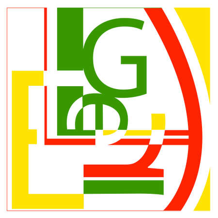 Includes the letters L, E, G, R - in the style of the artist Leger - it just looks like a random typography collage.