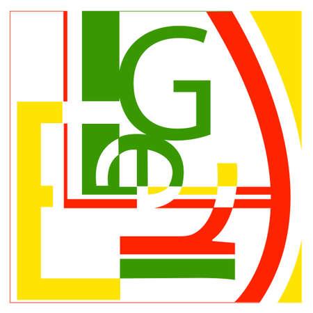 Inclusief de letters L, E, G, R - in de stijl van de kunstenaar Leger - het net lijkt op een willekeurige typografie collage.