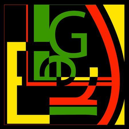 Incluye las letras L, E, G, R - en el estilo del artista Leger - sólo se parece a un collage tipografía aleatoria.  Foto de archivo - 404283