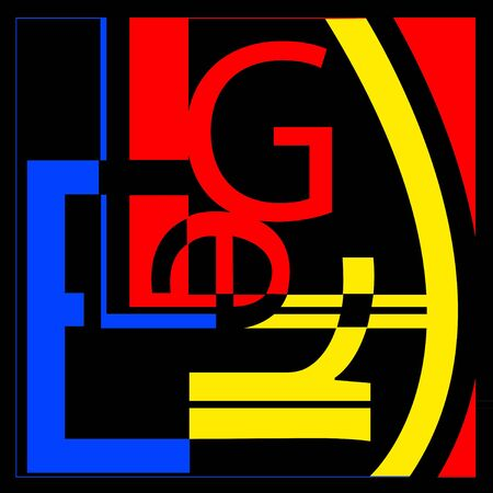 Omvat de letters L, E, G, R - in de stijl van de kunstenaar Leger - het net lijkt op een willekeurige typografie collage. Primaire kleuren. Stockfoto
