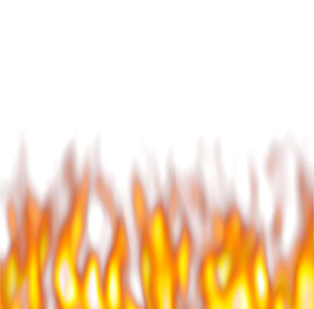 hot flames over white background