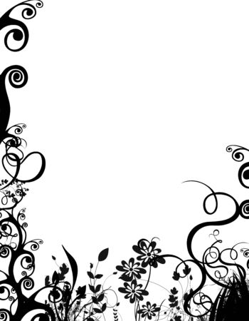 a black and white springsummer foliage border over white. Stock Photo