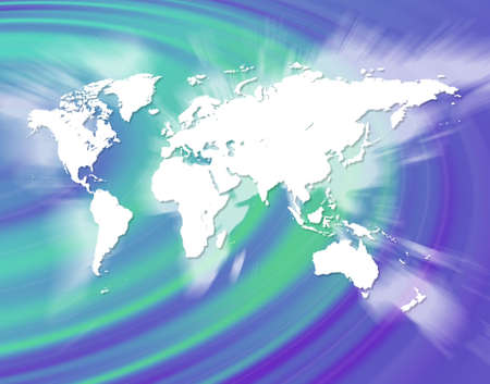 zooming: A world map montage over a bluegreen background. Stock Photo