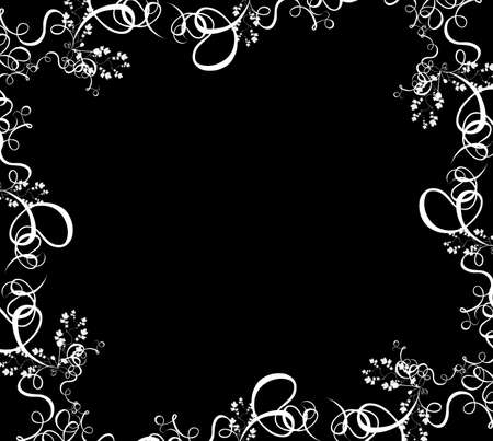 a white summer foliage border over a black background Stock Photo - 489426