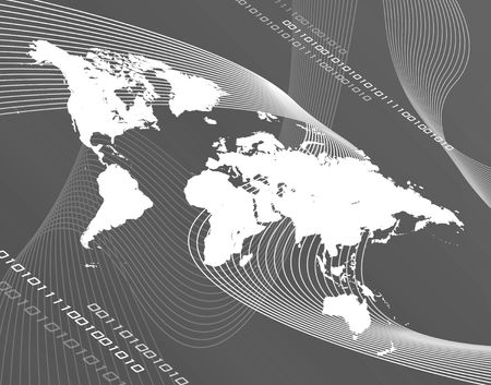 montage: A black and white world map montage- works great for business, global communications, travel, and more!