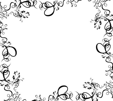 a black summer foliage border over a white background