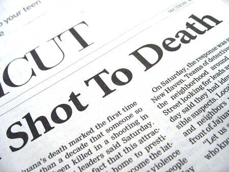 newspaper headline: shot to death photo
