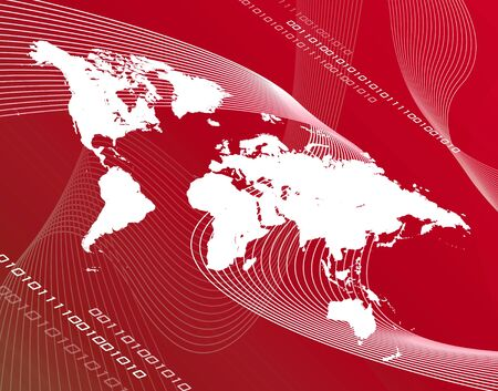 montage: world map  communications  travel montage over a reddish background