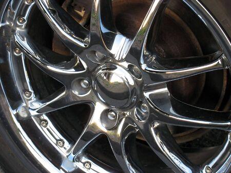 closeup of a chrome rim
