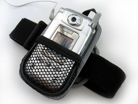 An armband  holster for a cell phone that plays mp3s.