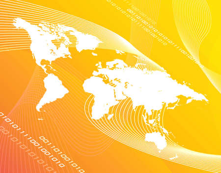 A world map montage over a yelloworange background. Banco de Imagens