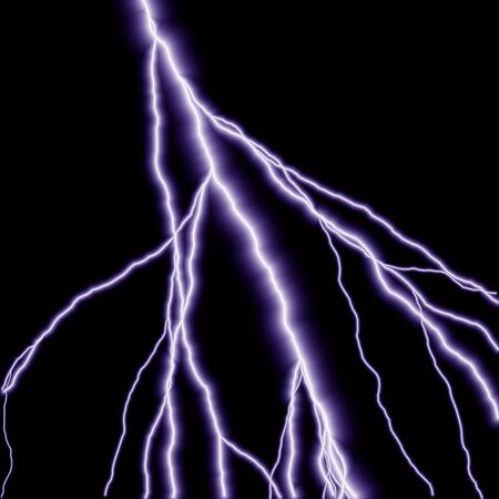 shocking: blue lightning branched out in the sky Stock Photo