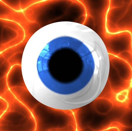 eyes wide open: A 3d blue eyeball over a fiery, electric background.