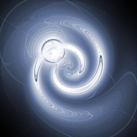 A blue, spiraling twirl background with lighting effects.