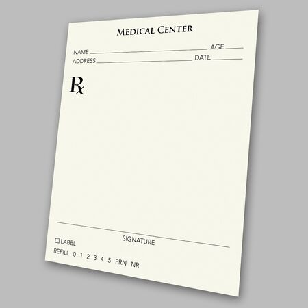 An empty prescription pad stationery - works great in medical-related ads.  Just insert whatever you want as the  photo