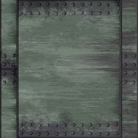 hardcore: A rivetted steel background. It can be used as a frame or border, or tiled as a seamless pattern. Stock Photo