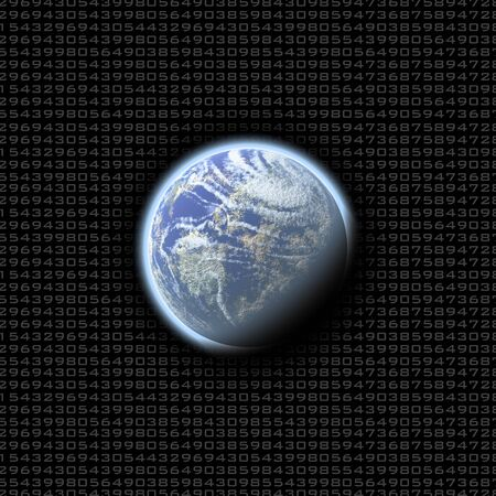 geosphere: A glowing planet earth over a dark background of random numbers. Stock Photo