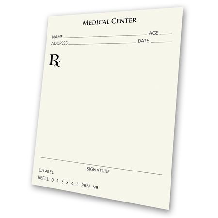 prescription: A blank prescription pad - a great ad concept.  A prescription for a better business, or a prescription for success.  Use your imagination, and insert your own handwriting font. Stock Photo