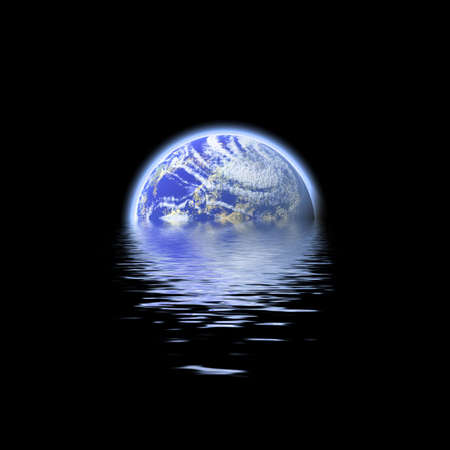 The earth floating in a pool of water - this works great to denote a flood or to represent the earths oceans.