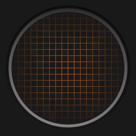 cold war: A circular radar grid background over black.  This also works as a button. Stock Photo