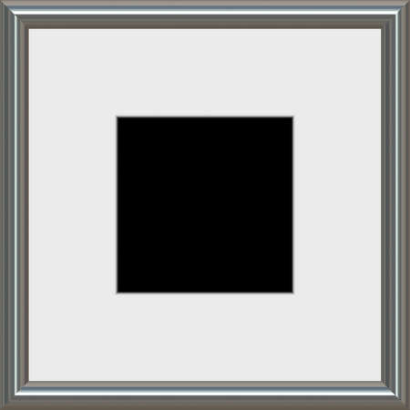 matted: A modern silver frame with matted white space Stock Photo