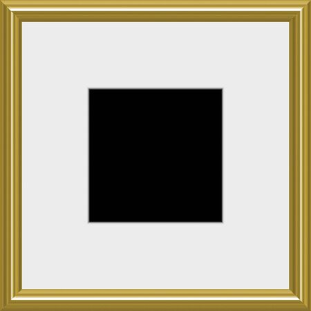 shiny black: A modern silver frame with matted white space Stock Photo