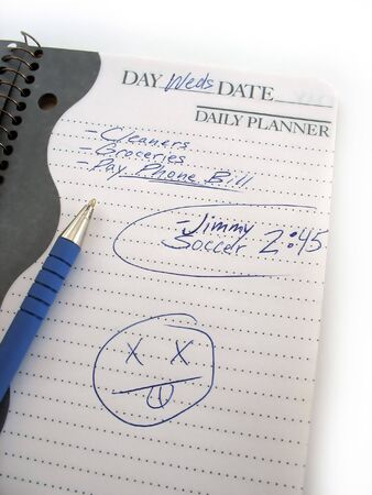 Een drukke dagelijkse schema boek van een moderne moeder of vader.