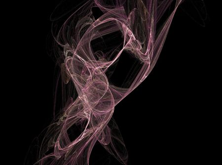 Purple fractal art that looks like smoke rising; computer-generated artwork. Stock Photo