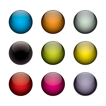 An arrangement of colorful vector orbs / circles that look just like buttons, planets, or even jelly beans.