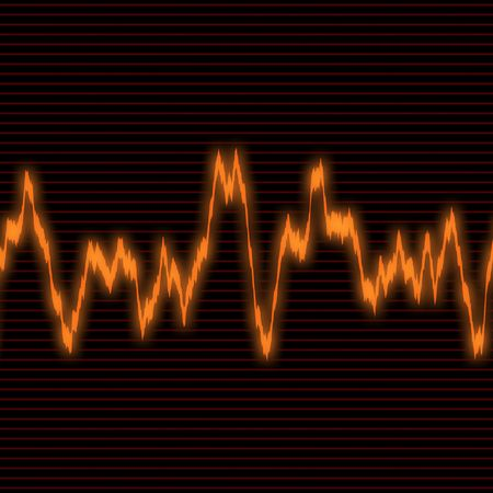An orange audio waveform over a black background.  It also could be a heartrate monitor.