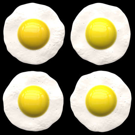yoke: Four fried eggs isolated over a black background - the same color as a cast-iron frying pan. Stock Photo