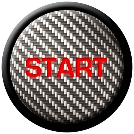 lightweight: A carbon fiber start button with the word  Stock Photo