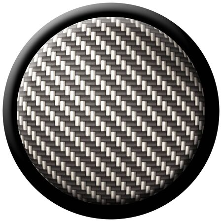 both: A round button with carbon fiber texture - great for both print and web design. Stock Photo