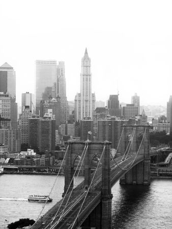 suspension bridge: A shot of the brooklyn bridge in New York City - black and white. Stock Photo