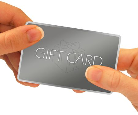 cash card: A gift card being exchanged through hands - isolated over a white background.  A clipping path is included. Stock Photo