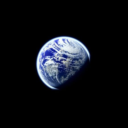 globalism: A glowing planet earth illustration over a black background. Stock Photo