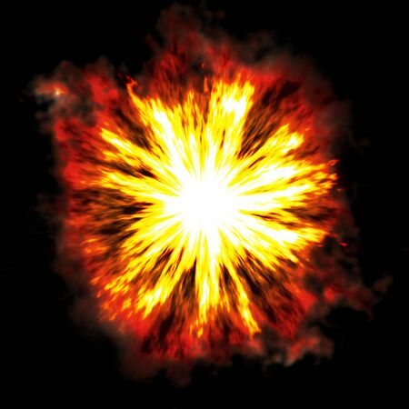 powerful volcano: A fiery explosion busting over a black background.
