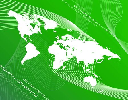A world map montage over a green background. photo