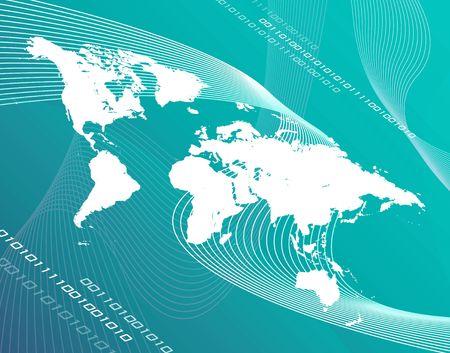 緑の背景の上の世界地図モンタージュ。