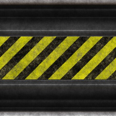 hazard damage: A grunge background featuring hazard stripes and aged steel.  Plenty of copy space, and this image even tiles seamlessly as a pattern.