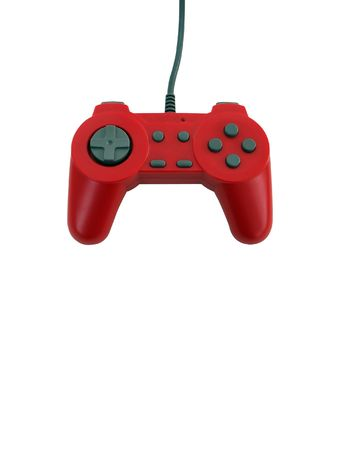 peripherals: A red game controller isolated over white with plenty of copyspace.  This file includes the clipping path.