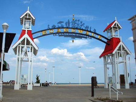 atlantic: The famous public BOARDWALK sign located at the main entrance of the boardwalk in Ocean City, Maryland. Stock Photo