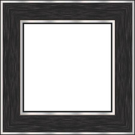 A black wood picture frame with brushed nickel accents.  Contains clipping path for the white area in the center.
