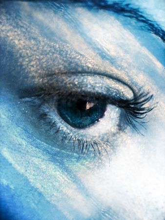 mother earth: A beautiful abstract eye concept in a sky blue tone.
